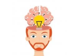 卡通大脑电灯泡