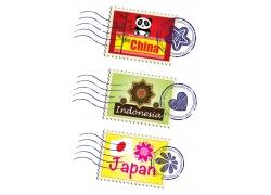 中国邮票图片与印度尼西亚邮票图片