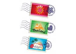 泰国和马来西亚邮票图片