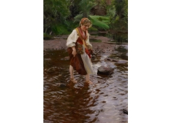 河流中玩耍的女孩图片