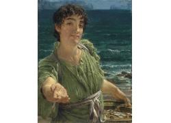 海边女人油画写生图片