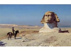 古埃及人物狮身油画写作