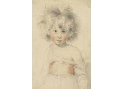 彩绘小女孩人物艺术画