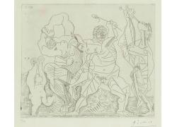毕加索人物素描抽象画