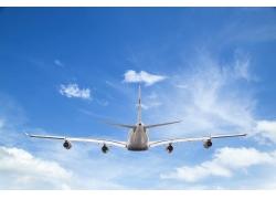 蓝天白云飞机背景