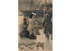 船上挥手的人物风景油画