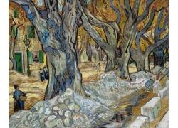 树林房屋人物风景油画