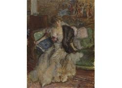 沙发上的欧洲女人油画