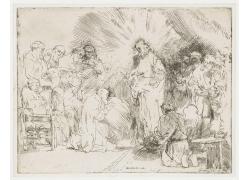 宗教人物素描铅笔画