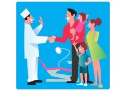 牙齿健康的一家人和医生