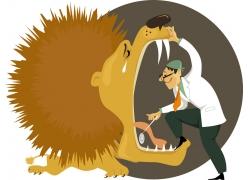 卡通狮子与牙科医生图片