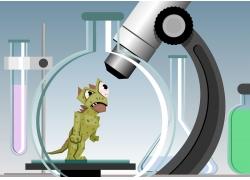 卡通恐龙与显微镜