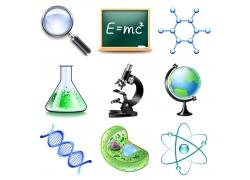 各种化学图标与显微镜