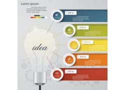 彩色立体标签灯炮信息图表