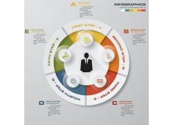 彩色立体圆环商务人物信息图表