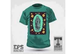 圣母插画T恤印花设计