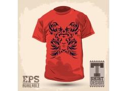 老虎花纹T恤印花设计