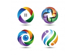 个性炫彩立体球形标志