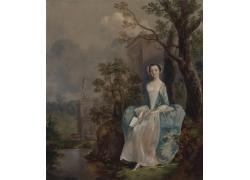 城堡里树木下看书的女人图片
