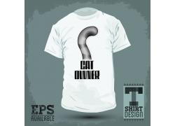 猫咪尾巴T恤印花设计