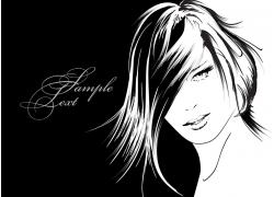 美发模特插画图片