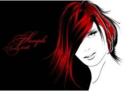 红色头发美女插画图片