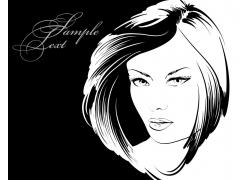 时尚美发模特女孩插画图片