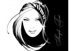 美发模特头像插画图片