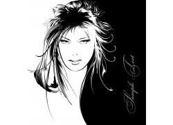 美发模特女孩插图图片