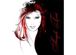 时尚美发模特女人插画图片