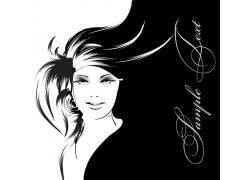 头发飘逸的女人插画图片