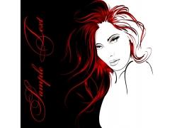 红头发性感女人插画图片
