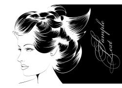 盘发的美女插画图片