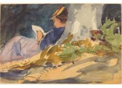 草地看书的女孩图片