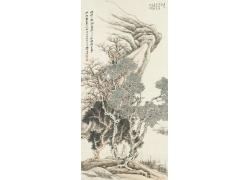 张大千水墨树木人物绘画