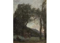 树林里跳舞的女孩图片