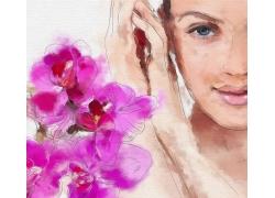 鲜花美女手绘图片