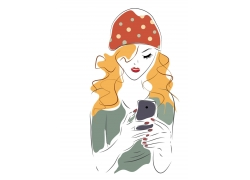 时尚少女插画图片