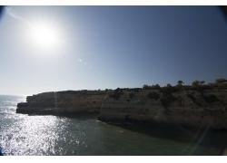 海岸石壁植物风景摄影图片
