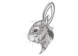 卡通兔子花纹插画图片