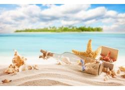 沙滩上的瓶子和海星图片