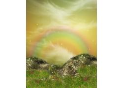 彩虹与花朵
