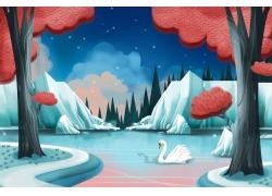 美丽的天鹅湖卡通插画