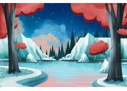 美丽的雪山湖泊风景