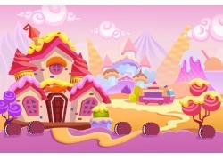 彩色的卡通城堡