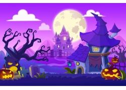 卡通万圣节城堡