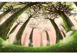 卡通树林插画