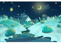 夜晚的月亮与高山