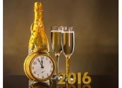 闹钟香槟2016新年立体字