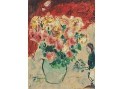夏加尔花瓶与女人油画